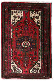 Hamadan Matta 80X125 Äkta Orientalisk Handknuten Mörkbrun/Mörkröd (Ull, Persien/Iran)
