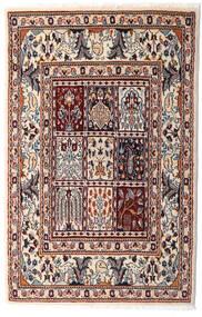 Moud Matta 76X117 Äkta Orientalisk Handknuten Beige/Mörkbrun (Ull/Silke, Persien/Iran)