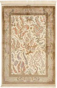 Ghom Silke Matta 100X148 Äkta Orientalisk Handknuten Beige/Ljusbrun (Silke, Persien/Iran)