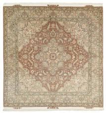 Tabriz 50 Raj Matta 203X208 Äkta Orientalisk Handknuten Kvadratisk Ljusgrå/Brun (Ull/Silke, Persien/Iran)