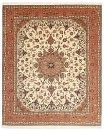 Tabriz 50 Raj Matta 203X248 Äkta Orientalisk Handknuten Brun/Beige (Ull/Silke, Persien/Iran)