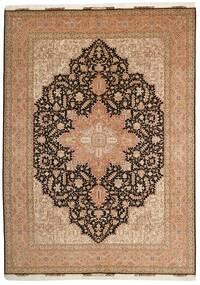 Tabriz 50 Raj Matta 248X347 Äkta Orientalisk Handknuten Brun/Mörkbrun (Ull/Silke, Persien/Iran)