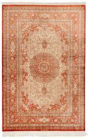 Ghom Silke Matta 130X197 Äkta Orientalisk Handknuten Ljusbrun/Röd (Silke, Persien/Iran)