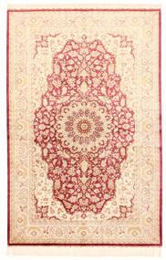 Ghom Silke Matta 132X201 Äkta Orientalisk Handknuten Beige/Ljusrosa (Silke, Persien/Iran)