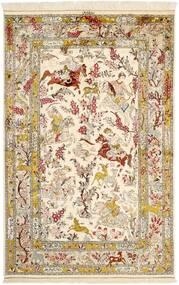 Ghom Silke Matta 131X203 Äkta Orientalisk Handknuten Beige/Brun (Silke, Persien/Iran)