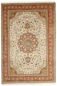 Tabriz 50 Raj Matta 202X305 Äkta Orientalisk Handknuten Brun/Beige (Ull/Silke, Persien/Iran)