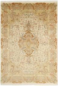 Tabriz 50 Raj Matta 202X295 Äkta Orientalisk Handknuten Beige/Mörkbeige/Ljusbrun (Ull/Silke, Persien/Iran)
