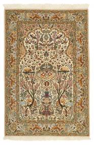 Isfahan Silkesvarp Matta 115X170 Äkta Orientalisk Handknuten Beige/Brun (Ull/Silke, Persien/Iran)