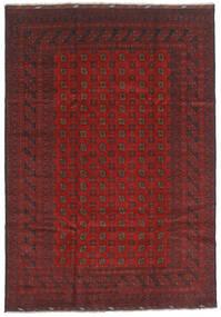 Afghan Matta 202X289 Äkta Orientalisk Handknuten Mörkröd/Mörkgrå (Ull, Afghanistan)