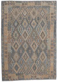 Kelim Afghan Old Style Matta 206X301 Äkta Orientalisk Handvävd Mörkgrå/Ljusgrå (Ull, Afghanistan)