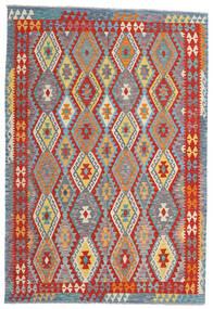Kelim Afghan Old Style Matta 199X293 Äkta Orientalisk Handvävd Ljusgrå/Roströd (Ull, Afghanistan)