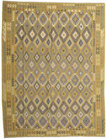 Kelim Afghan Old Style Matta 298X389 Äkta Orientalisk Handvävd Olivgrön/Mörkgrå Stor (Ull, Afghanistan)