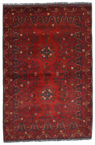 Kunduz Matta 100X150 Äkta Orientalisk Handknuten Mörkröd (Ull, Afghanistan)