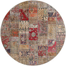 Patchwork - Persien/Iran Matta Ø 250 Äkta Modern Handknuten Rund Ljusgrå/Ljusbrun Stor (Ull, Persien/Iran)