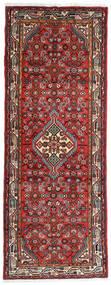 Asadabad Matta 74X193 Äkta Orientalisk Handknuten Hallmatta Mörkbrun/Mörkröd (Ull, Persien/Iran)