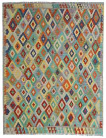 Kelim Afghan Old Style Matta 190X247 Äkta Orientalisk Handvävd Ljusgrå/Mörkgrön (Ull, Afghanistan)