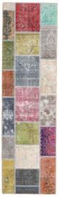 Patchwork - Persien/Iran Matta 70X248 Äkta Modern Handknuten Hallmatta Ljusgrå/Mörkbrun (Ull, Persien/Iran)
