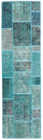 Patchwork - Persien/Iran Matta 70X251 Äkta Modern Handknuten Hallmatta Turkosblå/Turkosblå (Ull, Persien/Iran)