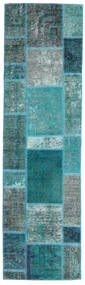 Patchwork - Persien/Iran Matta 70X249 Äkta Modern Handknuten Hallmatta Mörk Turkos/Turkosblå (Ull, Persien/Iran)