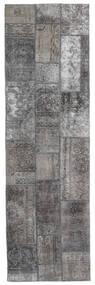 Patchwork - Persien/Iran Matta 76X253 Äkta Modern Handknuten Hallmatta Ljusgrå/Mörkgrå (Ull, Persien/Iran)