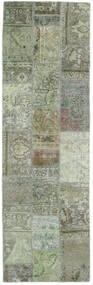 Patchwork - Persien/Iran Matta 77X251 Äkta Modern Handknuten Hallmatta Mörkgrå/Ljusgrön (Ull, Persien/Iran)