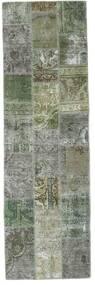 Patchwork - Persien/Iran Matta 76X254 Äkta Modern Handknuten Hallmatta Ljusgrå/Mörkgrön (Ull, Persien/Iran)