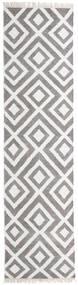Bambu Silke Kelim Matta 80X300 Äkta Modern Handvävd Hallmatta Ljusgrå/Vit/Cremefärgad (Ull/Bambusilke, Indien)