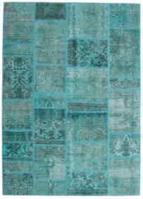 Patchwork - Persien/Iran Matta 141X198 Äkta Modern Handknuten Turkosblå/Turkosblå (Ull, Persien/Iran)