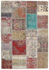 Patchwork - Persien/Iran Matta 141X203 Äkta Modern Handknuten Ljusgrå/Brun (Ull, Persien/Iran)