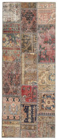 Patchwork - Persien/Iran Matta 76X195 Äkta Modern Handknuten Hallmatta Ljusgrå/Mörkröd (Ull, Persien/Iran)