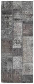 Patchwork - Persien/Iran Matta 77X198 Äkta Modern Handknuten Hallmatta Mörkgrå/Ljusgrå (Ull, Persien/Iran)