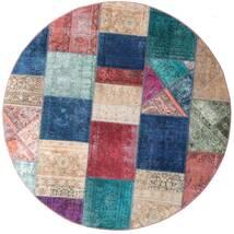 Patchwork - Persien/Iran Matta Ø 200 Äkta Modern Handknuten Rund Mörkblå/Lila (Ull, Persien/Iran)
