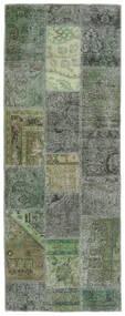 Patchwork - Persien/Iran Matta 76X201 Äkta Modern Handknuten Hallmatta Mörkgrön/Olivgrön (Ull, Persien/Iran)