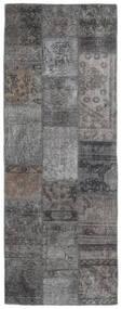 Patchwork - Persien/Iran Matta 75X201 Äkta Modern Handknuten Hallmatta Mörkgrå/Ljusgrå (Ull, Persien/Iran)