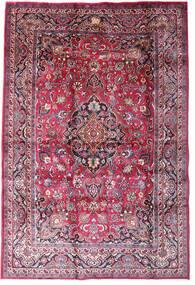 Mashad Matta 198X290 Äkta Orientalisk Handknuten Mörklila/Ljusrosa (Ull, Persien/Iran)