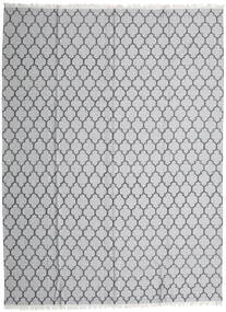 Bambu Silke Kelim Matta 300X400 Äkta Modern Handvävd Ljusgrå/Vit/Cremefärgad Stor (Ull/Bambusilke, Indien)