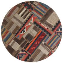 Tekkeh Kelim Matta Ø 150 Äkta Modern Handvävd Rund Mörkbrun/Ljusgrå/Mörkröd (Ull, Persien/Iran)