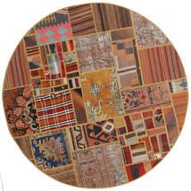 Tekkeh Kelim Matta Ø 151 Äkta Modern Handvävd Rund Mörkbrun/Ljusbrun/Brun (Ull, Persien/Iran)