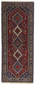 Yalameh Matta 80X200 Äkta Orientalisk Handknuten Hallmatta Svart/Mörkröd (Ull, Persien/Iran)
