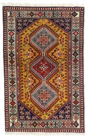 Yalameh Matta 81X126 Äkta Orientalisk Handknuten Mörkröd/Mörkbrun (Ull, Persien/Iran)