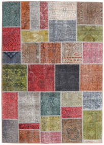 Patchwork - Persien/Iran Matta 165X232 Äkta Modern Handknuten Mörkgrå/Mörkröd (Ull, Persien/Iran)