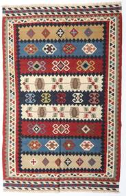 Kelim Vintage Matta 153X235 Äkta Orientalisk Handvävd Mörkröd/Mörklila (Ull, Persien/Iran)