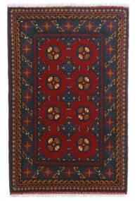 Afghan Matta 80X123 Äkta Orientalisk Handknuten Mörkröd/Mörkblå (Ull, Afghanistan)
