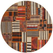 Tekkeh Kelim Matta Ø 200 Äkta Modern Handvävd Rund Mörkbrun/Brun (Ull, Persien/Iran)