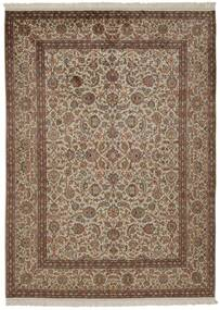 Kashmir Äkta Silke Matta 157X214 Äkta Orientalisk Handknuten Brun/Ljusgrå/Ljusbrun (Silke, Indien)