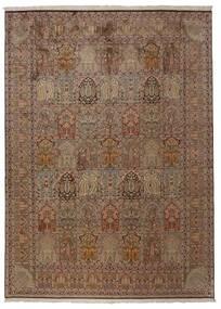 Kashmir Äkta Silke Matta 248X336 Äkta Orientalisk Handknuten Brun/Ljusgrå (Silke, Indien)