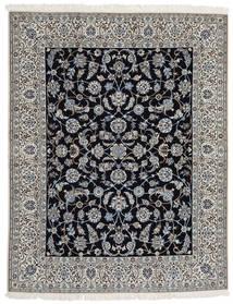 Nain 9La Matta 203X255 Äkta Orientalisk Handknuten Ljusgrå/Mörkgrå/Svart (Ull/Silke, Persien/Iran)