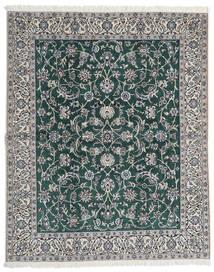 Nain 9La Matta 200X245 Äkta Orientalisk Handknuten Ljusgrå/Mörkgrön (Ull/Silke, Persien/Iran)