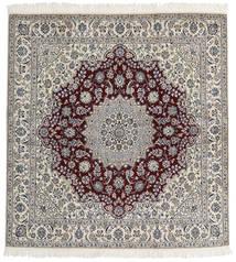 Nain 9La Matta 200X212 Äkta Orientalisk Handknuten Kvadratisk Ljusgrå/Mörkbrun (Ull/Silke, Persien/Iran)