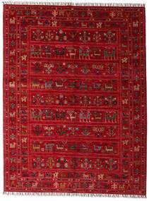 Shabargan Matta 154X201 Äkta Modern Handknuten Röd/Mörkröd (Ull, Afghanistan)